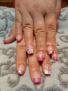 Pink and Bling Heart Nails