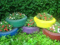 Need an idea on what to do with old tires? These tires were from our Pop Pop's truck and the impatiens were our Mom Mom's favorite annual. A little tribute in their memory