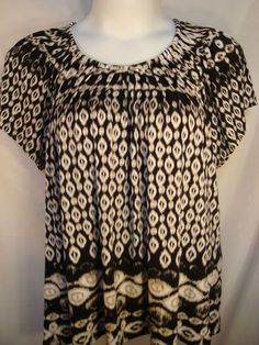 Style & Co Woman Plus Size 2X Black/Beige/White Pleated Neckline Top - NWT - $14.99 + shipping