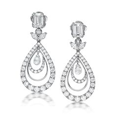 Adieu: 18K White Gold Diamond Earrings with Emerald Cut Solitaires, Marquee, Briolette Rose Cut & Round Brilliant Diamonds by Facets Singapore.