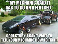 Hello dolly! Funny Mechanic Memes, Truck Memes, Car Jokes, Funny Car Memes, Car Humor, Hilarious, Tow Truck, Trucks, My Mechanic