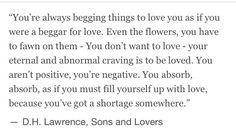 Amazing quote from sons and lovers by d h Lawrence