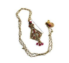 Going To The Bazaar single necklace in ruby red https://www.etsy.com/shop/MadScientistsDesigns #theartisangroup #etsy