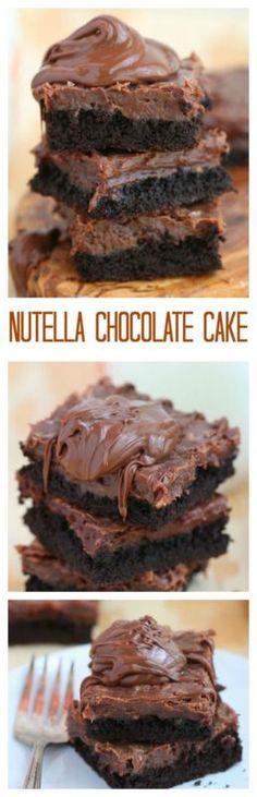 Nutella chocolate cake | Ingredients: chocolate fudge cake mix, egg, butter, cream cheese, eggs, Nutella, vanilla, powdered sugar