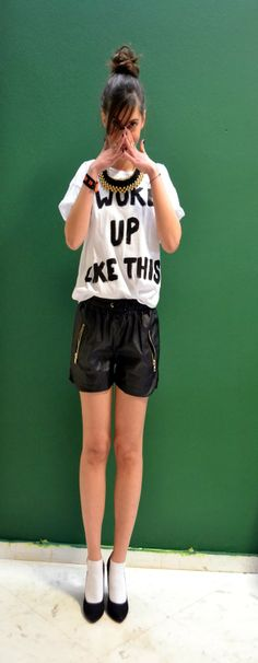 Loving The Faux Leather Shorts Leather Shorts, Finger, Hipster, T Shirt, Fashion Trends, Style, Supreme T Shirt, Swag, Tee Shirt