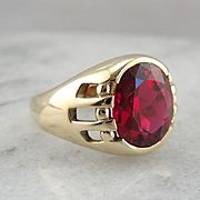 Powerful Statement, Men's Synthetic Ruby Ring, Vintage Retro Era Finery