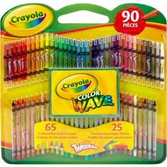 Crayola Twistables Color Wave Colored Pencils and Crayons with Construction Paper, 90 Pieces