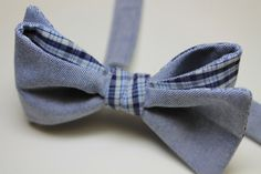 solid blue cotton bow tie combined with plaid in navy, blue and light beige - by ScovillDesign on Etsy