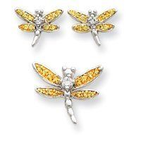 Sterling Silver Yellow CZ Dragonfly Earrings and Pendent Set - JewelryWeb JewelryWeb. $65.10. Save 50% Off!