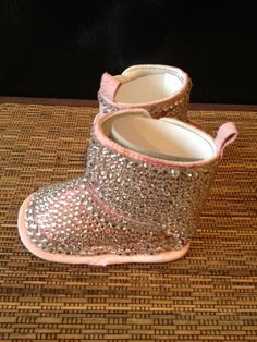 586d4f5fe45c Swarovski Crystal Pink Suede baby girl Booties by Lalabling
