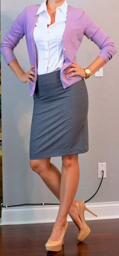 Outfit Posts: outfit post: grey pencil skirt, purple cardigan, white buttondown shirt