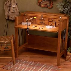 Include extra storage space to your workspace with the Willow Run Fly Tying Desk from the Lodge Collection. It is made with the mix of birch & cherry veneer finish and comes with drop-front panel and Extra Storage Space, Storage Spaces, Woodworking Furniture, Woodworking Projects, Fly Fishing Basics, Fly Tying Desk, Lodge Style, Cool Gear, Gone Fishing