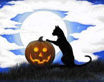 Cat moon halloween