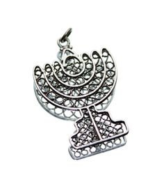 925 Silver Jewish Menorah Candelabra Pendant (no chain) by GillardAndMay on Etsy