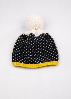 Cream, Black, and Mustard? Oh my <3  Patterned Pom Pom Beanie Purple & Red by WhiteLodgeKnitwear.