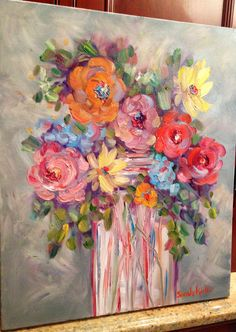 Floral Still Life Brightly Colored Floral — Sarah Kadlic Gallery Abstract Canvas Art, Acrylic Art, Art Tumblr, Abstract Flowers, Painting Inspiration, Art Inspo, Art Lessons, Flower Art, Amazing Art