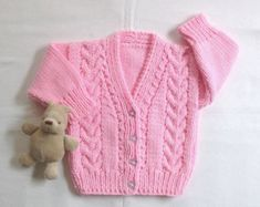 0a2f9ae08744 Baby girl pink knit cardigan 6 12 months Baby by LurayKnitwear ...