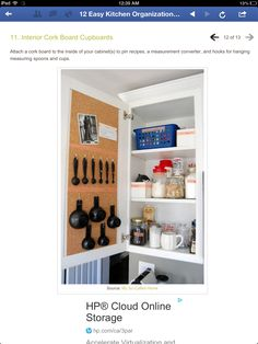 Cork board inside cabinet