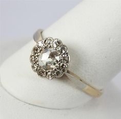 Antique Vintage Victorian Rose Cut Diamond Daisy Engagement Ring 18k White Yellow Gold on Etsy, $675.00