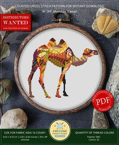 This is modern cross-stitch pattern of Mandala Camel for instant download. You will get 7-pages PDF file, which includes: - main picture for your reference; - colorful scheme for cross-stitch; - list of DMC thread colors (instruction and key section); - list of calculated thread