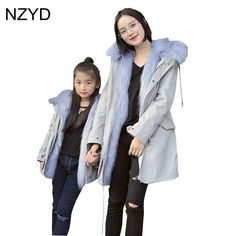New Fashion Winter Cotton Family Matching Outfits Coat 2017 Children Thick Jacket Overcoat Casual Warm Mother Kids Clothes DC637 #WinterOutfitsCasual