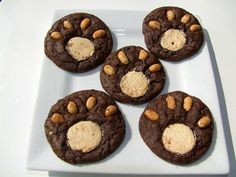 Bear Paw cookies. Chocolate brownie mix, white chocolate squares, halved peanuts (or white chocolate chunks for allergies). Make it with the kids or suprise them at a picnic!