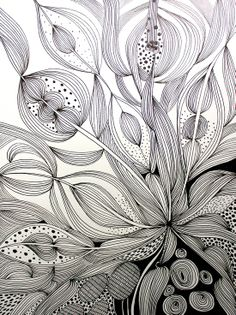 ARTFINDER: Enthral by Helen Wells - An intricate, intuitive and unique hand drawn pen and ink drawing on Fabriano art paper. It depicts a visually rich, illusionary organic landscape which cele. Ink Pen Drawings, Zentangle Drawings, Doodles Zentangles, Doodle Patterns, Zentangle Patterns, Tangle Art, Illustration, Pen Art, Doodle Art