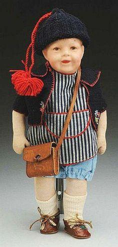 """13.5"""" cloth Schlenkerchen Type II doll, Germany, 1931, by Käthe Kruse."""