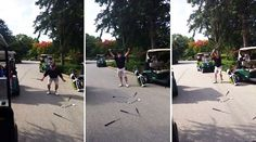 Enraged Golfer Snaps His Clubs Into Two After A Bad Round Of Golf