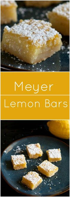 Tangy Meyer Lemon Bars with shortbread crust. Tangy Meyer Lemon Bars with shortbread crust. Meyer Lemon Recipes, Lemon Dessert Recipes, Fruit Recipes, Easy Desserts, Baking Recipes, Sweet Recipes, Delicious Desserts, Baking Desserts, Party Recipes