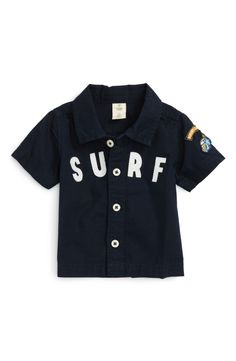 Surf's up! This crisp cotton shirt with beach-centric messaging is available exclusively at Nordstrom.
