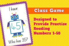 Class Game – Reading Numbers 20 to 50