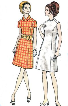 1960s Dress Pattern Vogue 7473 Mod Princess Seam A by paneenjerez, $10.00