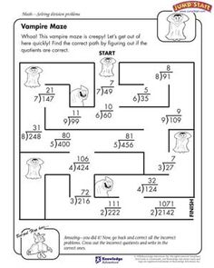 Printables Fun 4th Grade Math Worksheets longing for division free worksheet kids vampire maze activities 4th gradedivision