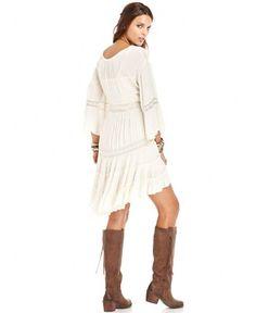 Free People Dress, Three-Quarter Scoop-Neck Crochet - Dresses - Women - Macy's