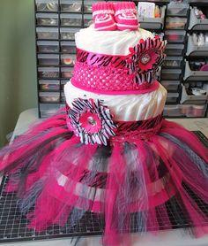 $65 (plus tax/shipping) C'est La-Vie Designs Unltd., LLC: Hot Pink Zebra Print Diaper Cake... OH MY!!!