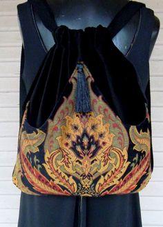 Items similar to Classy Tapestry Backpack Renaissance Backpack boho backpack boho slingbag black velvet bag backpacks boho cinch bag tapestry on Etsy Denim And Lace, Handbags Online, Online Bags, Fashion Plates, Fashion Bags, Boho Rucksack, Cinch Bag, Boho Boots, Bags Online Shopping