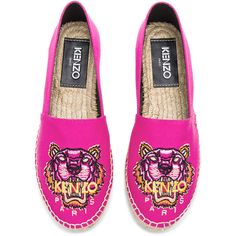 Kenzo Classic Espadrilles found on Polyvore featuring shoes, sandals, kenzo, platform espadrilles, platform slip on shoes, embroidered sandals and platform espadrilles shoes