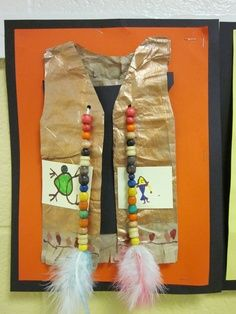 Native American 3-D Elementary Art Lesson Vests with beads and feathers | best stuff