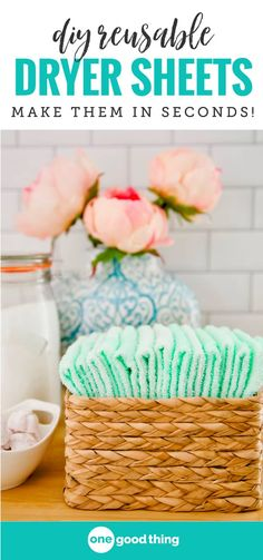 Stop wasting your money on store-bought dryer sheets and make your own instead! These easy-to-make homemade dryer sheets leave your clothes feeling soft and smelling great, and you can reuse them dozens of times too! #diy #easydiy #doityourself #naturalhome #homemadedryersheets #dryersheets #reusabledryersheets #laundry #laundryday #laundrytime #tipoftheday #lifehack #helpfultips #helpfulhint #tipsandtricks
