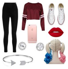 """""""Harley Quinn Halloween Costume"""" by catherine-eileen-m on Polyvore featuring Balmain, Converse, Lime Crime and Bling Jewelry"""