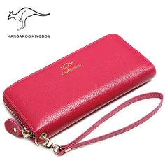 Good price KANGAROO KINGDOM luxury brand women wallets genuine leather long lady clutch purse zipper card holder wallet just only $23.88 with free shipping worldwide  #womanwallets Plese click on picture to see our special price for you