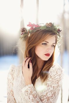 winter,fashion, fine art, flower crown, lace dress, portrait, red lips, red hair, snow, arizona, canon, 5d, 85mm, natural light.