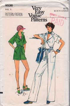 Vogue 9536  1970s Misses Wrapped Jumpsuit vintage sewing Pattern by mbchills