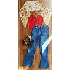 """Feeling that sunshine! floral oblong scarf - $15 #80s #silk camisole- sz. S - $20 #70s #levis #flares - sz. S 26"""" waist - $35 #tstrap #heels - sz. 8.5 A - $35 Be sure to comment or DM for details  purchase #vintage #1980s #1970s #springhassprung #springfashion #tanktop #vootd #vintageootd #ootd"""