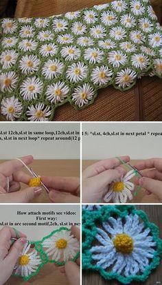 Crochet Tutorial Design Crochet Flowers Blanket Free Pattern Tutorial - This crochet flowers blanket with daisy motif is wonderful. Using it's gorgeous pattern, you can make this crochet flowers blanket in just a few hours. Beau Crochet, Crochet Puff Flower, Crochet Daisy, Crochet Flower Patterns, Crochet Blanket Patterns, Crochet Designs, Crochet Flowers, Knit Crochet, Daisy Flowers
