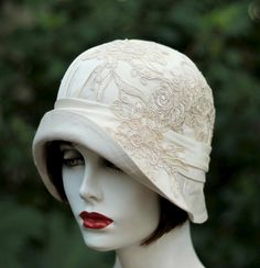 Vintage Style 20s Hat Couture Wedding Bridal Hat in Silk and Lace - Hats by Gail