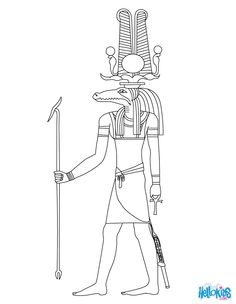 Sobek Egyptian goddess & gods Coloring Page
