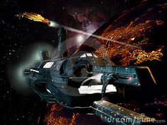Several spaceships on the orbit of a planet with illuminated cities in the dark.