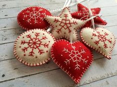 Wool Felt Red White Christmas Ornaments Felt Christmas ornaments – set of 6 heart, star, snowflake traditional ornaments white and red / wool felt Listing is for set of 6 ornaments Size is about 7 cm ( 3 inches) Handmade from pure … White Christmas Ornaments, Felt Christmas Decorations, Felt Ornaments, Christmas Crafts, Christmas Music, Christmas Tree, Embroidered Christmas Ornaments, Christmas Island, Hallmark Christmas